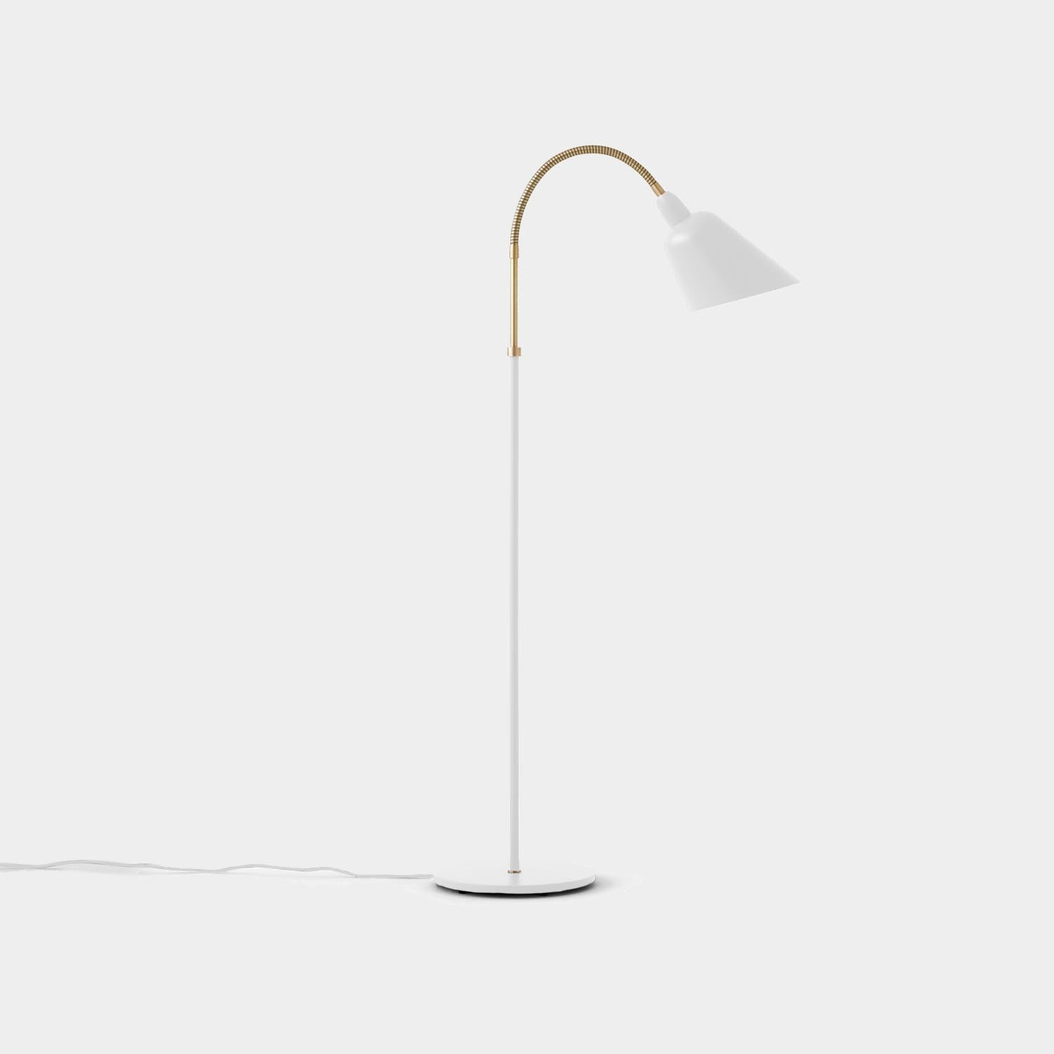 Bellevue Floor Lamp, White and Brass