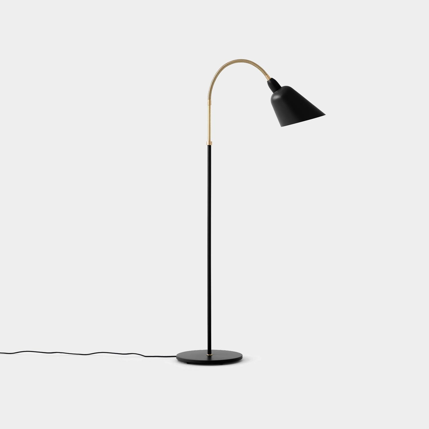 Bellevue Floor Lamp, Black and Brass
