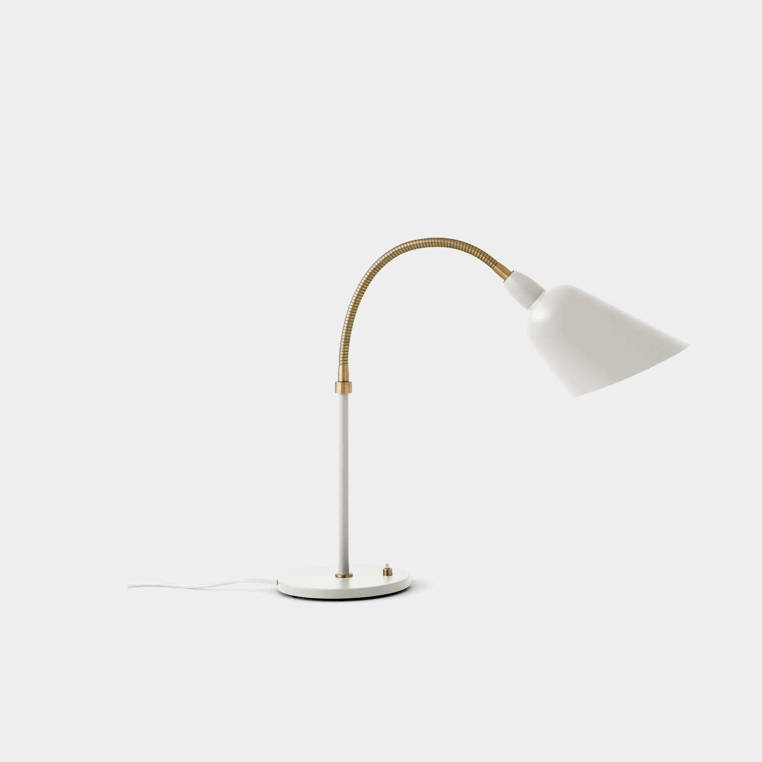 Bellevue Table Lamp, White and Brass