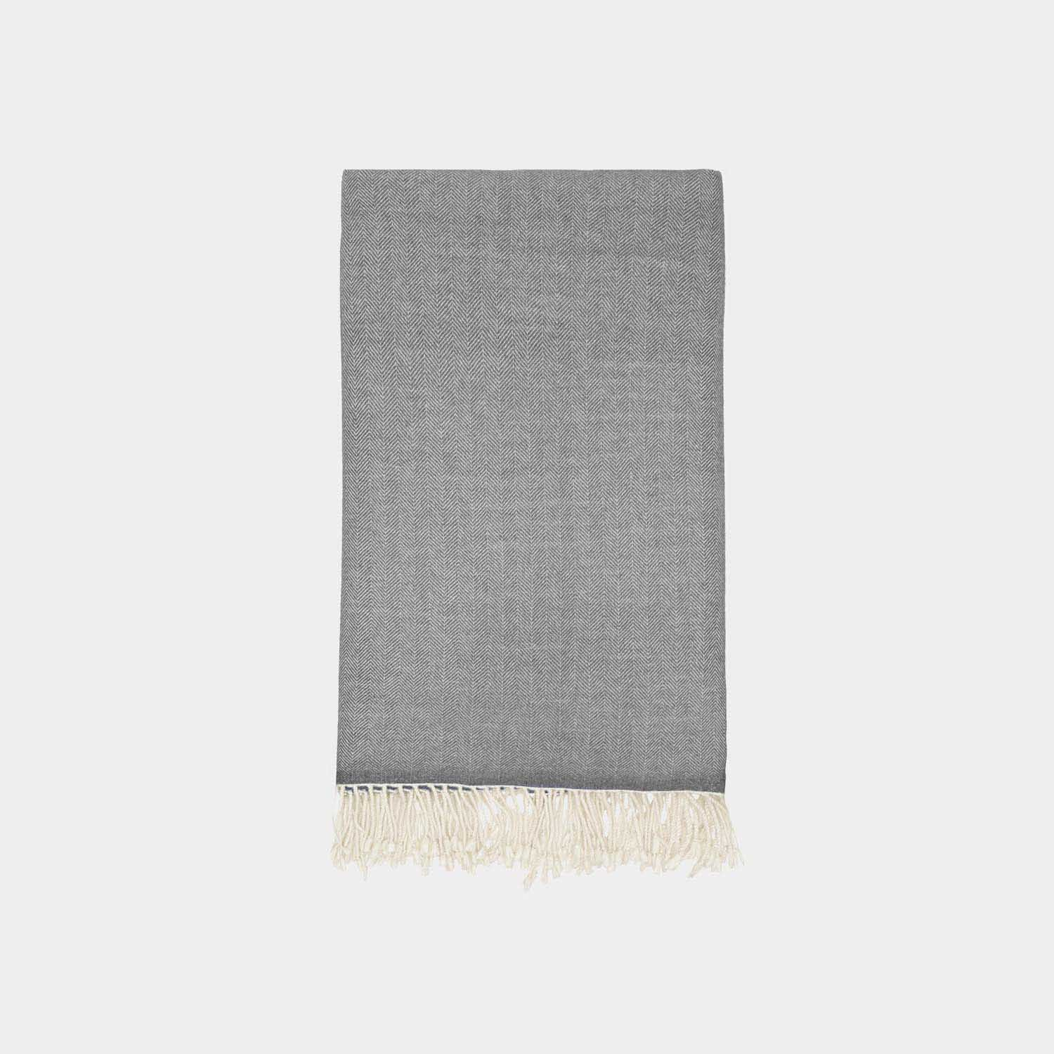 Herringbone Throw, Gray