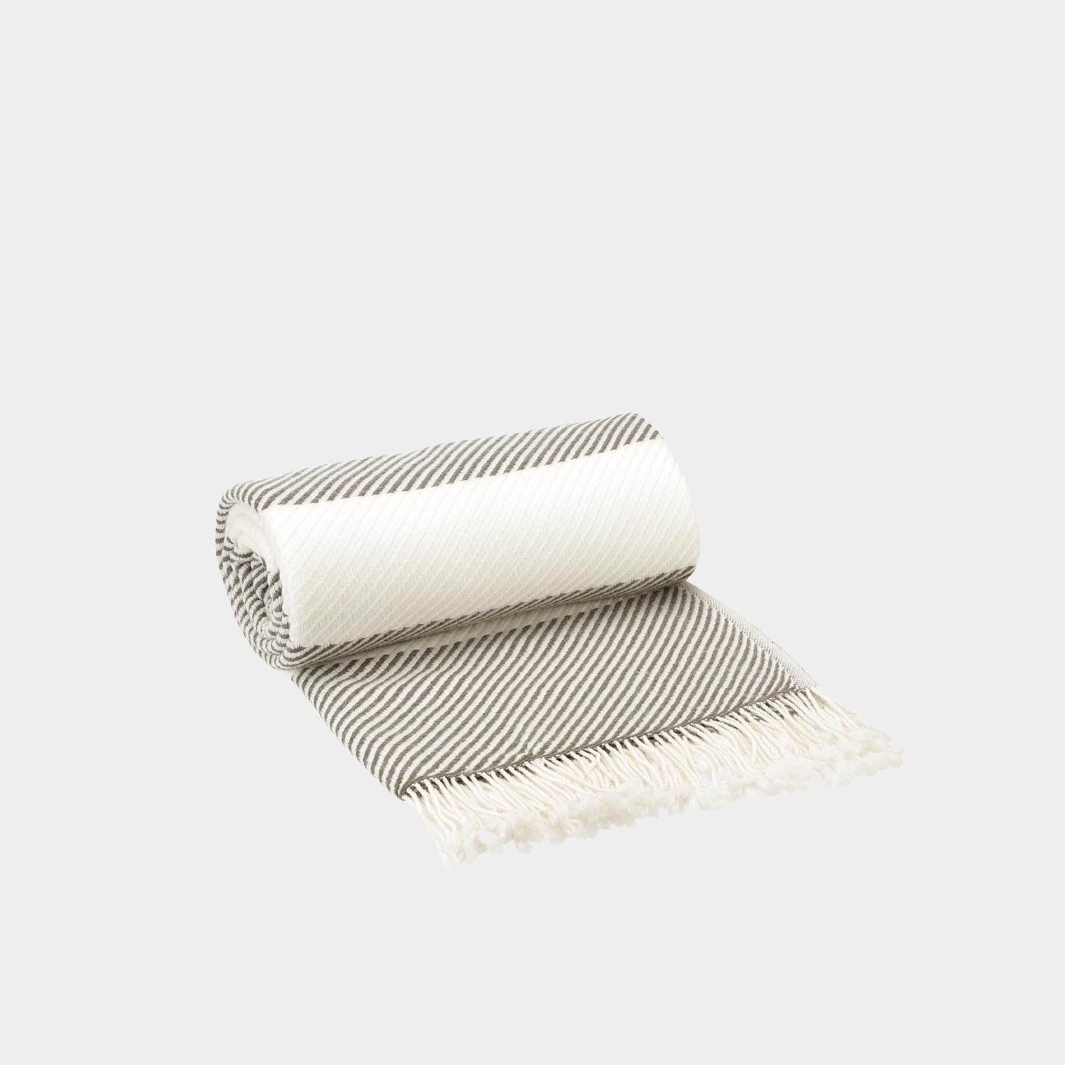 Solene Throw, Khaki & White