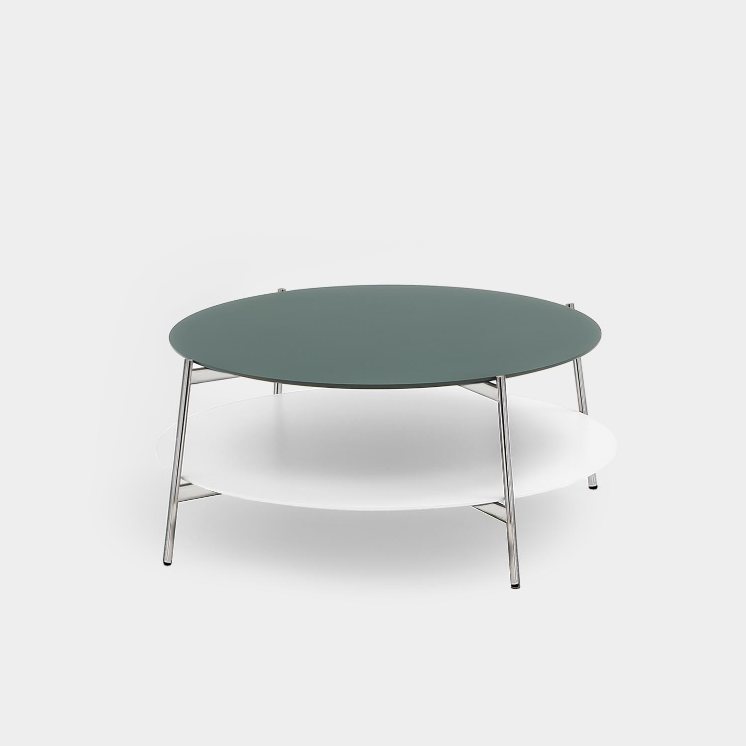 Round Coffee Table SHIKA, Chrome Base