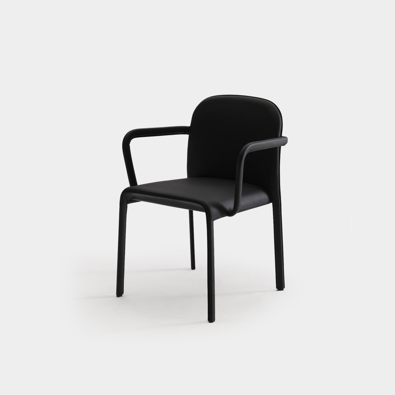Scala Chair with Armrest, Fully Upholstered, Black Leather