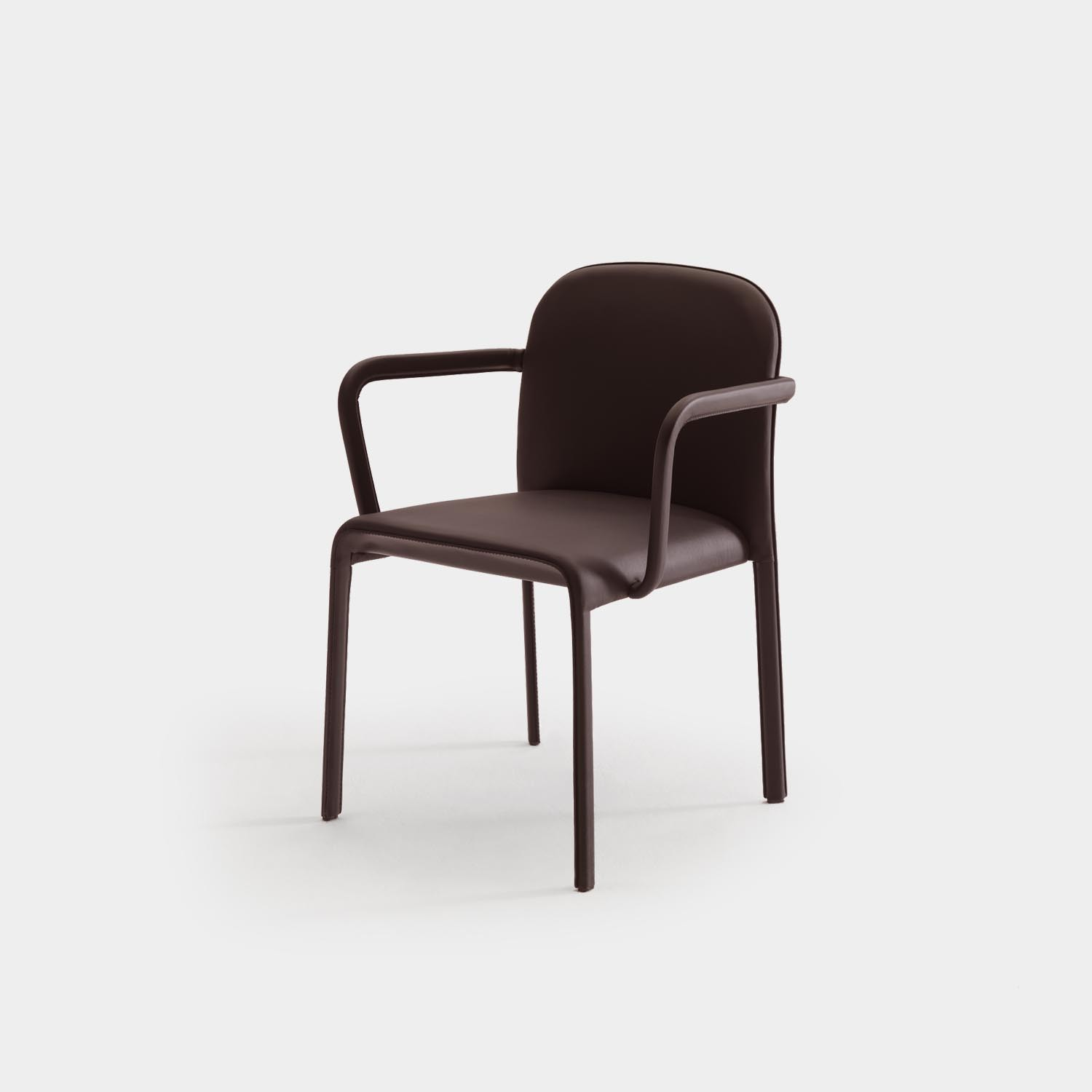 Scala Chair with Armrest, Fully Upholstered, Brown Leather