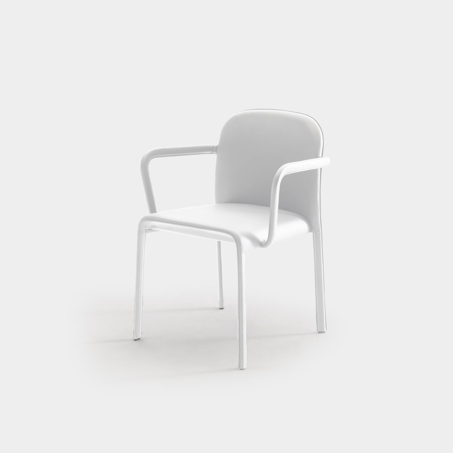 Scala Chair with Armrest, Fully Upholstered, White Leather