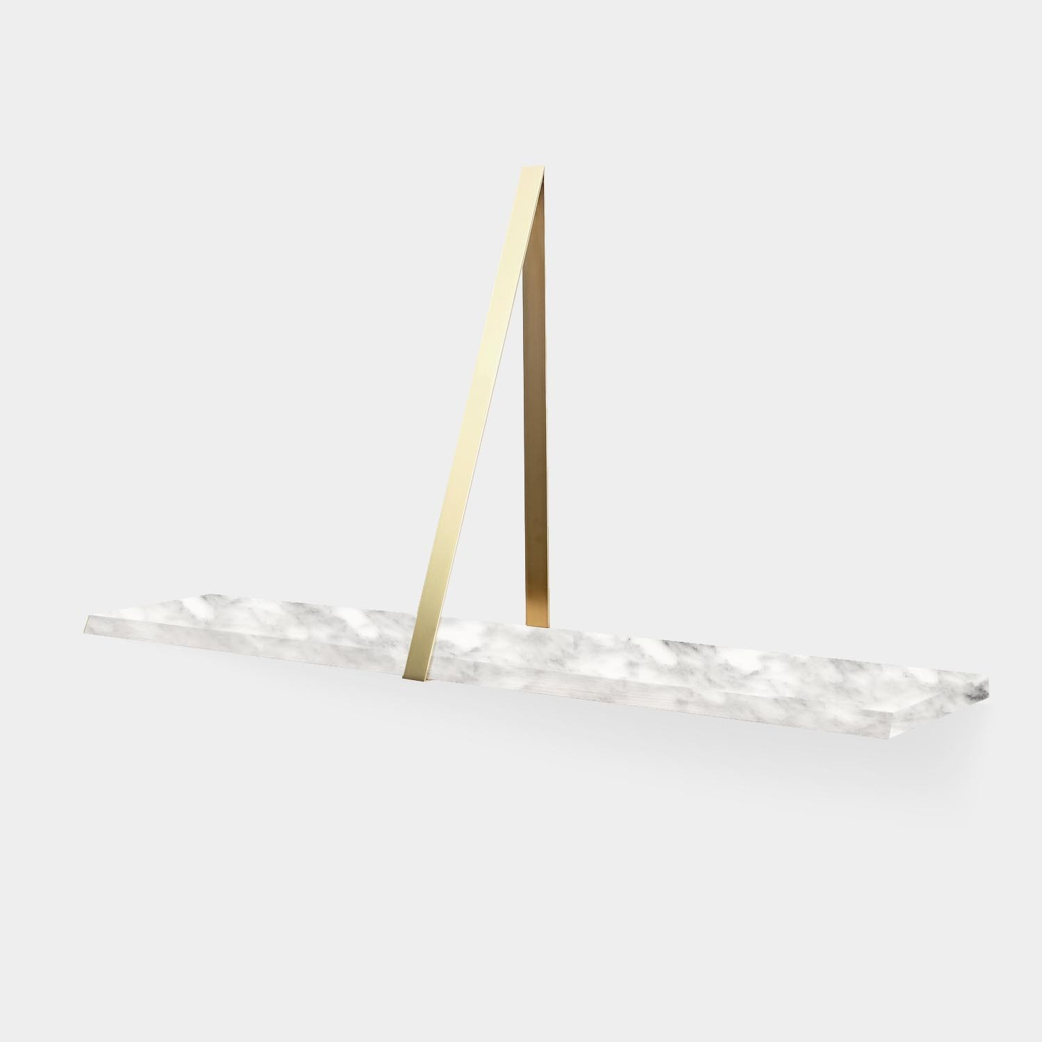 Wall Shelf T-SQUARE, Marble and Brass Frame