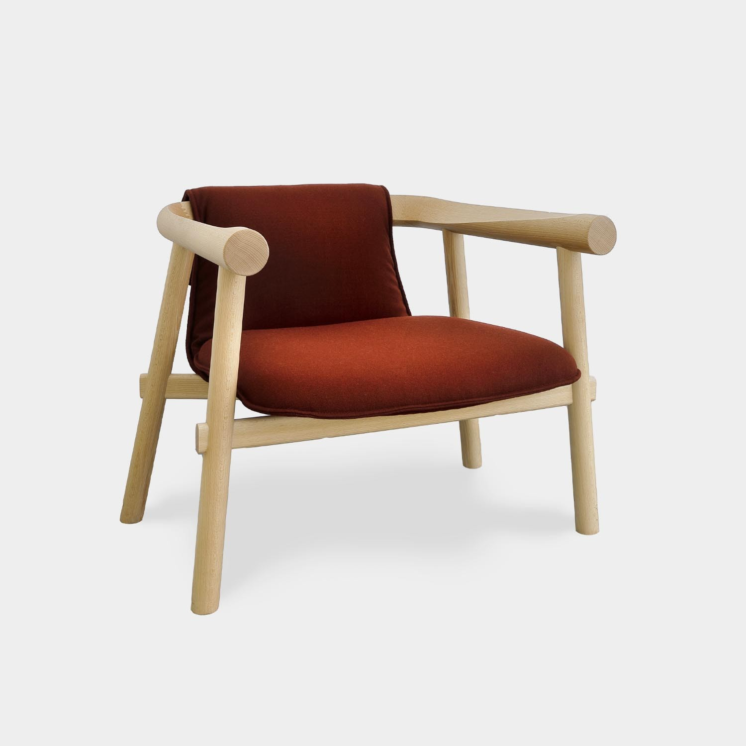 Altay Armchair, Natural Beechwood Structure, Textile Upholstery
