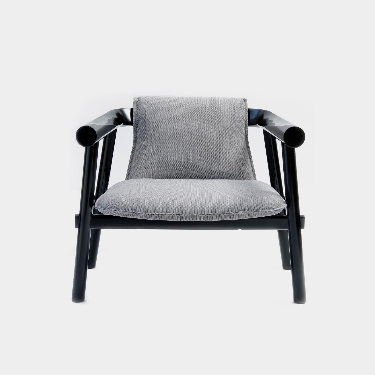 Altay Armchair, Black Structure, Textile Upholstery