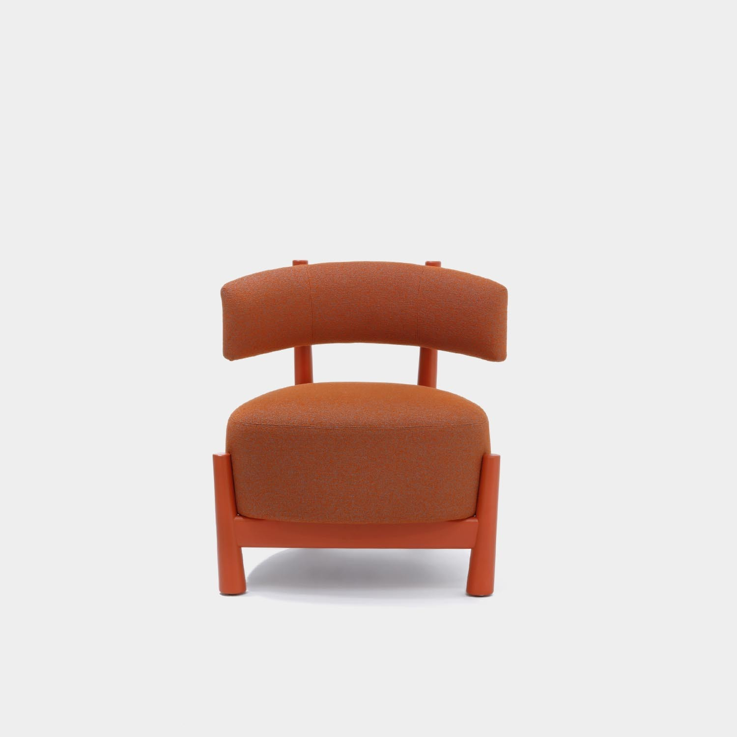 Dalya Armchair, Coral Wool, Lacquered Coral Beech