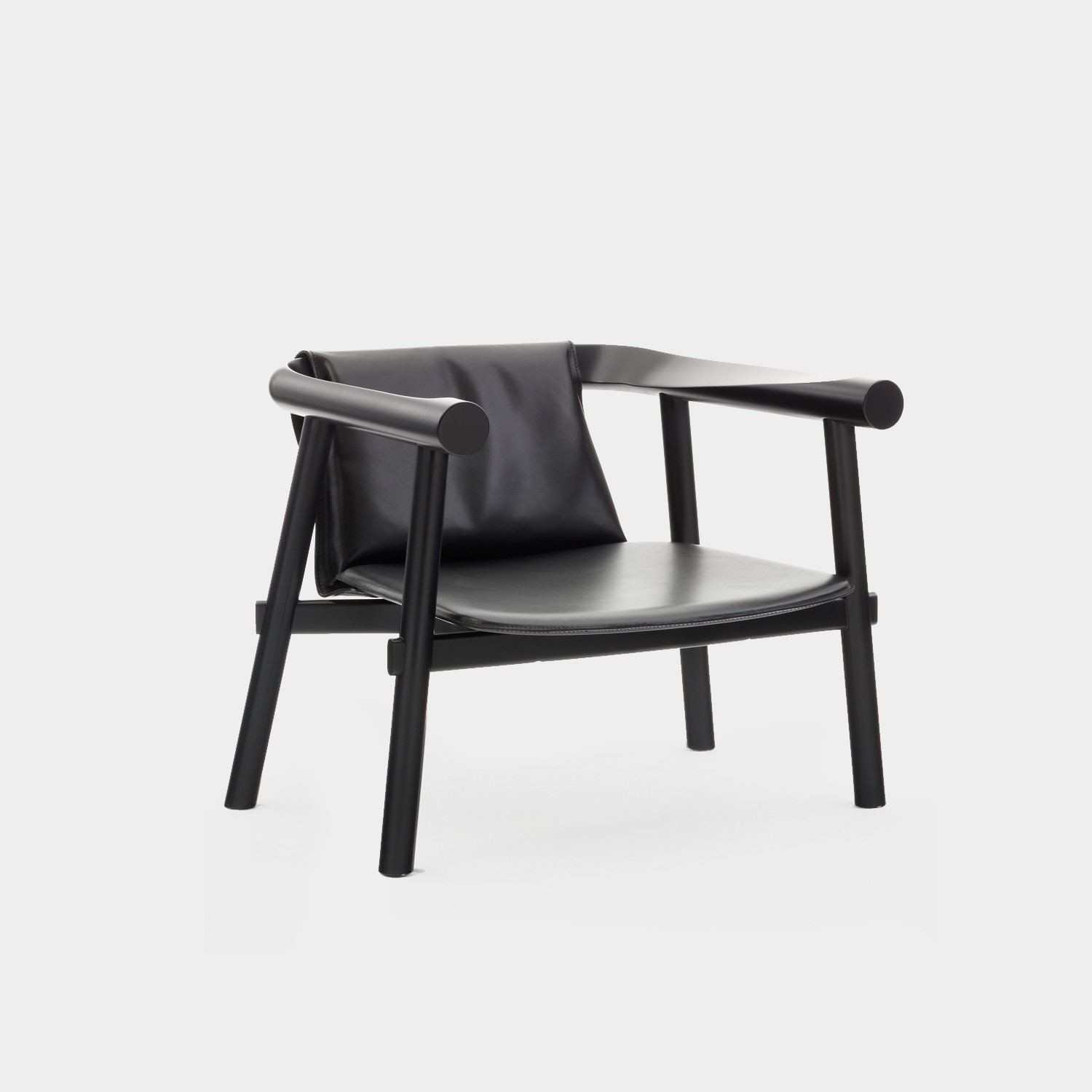 Altay Armchair, Black Structure, Black Leather Seat