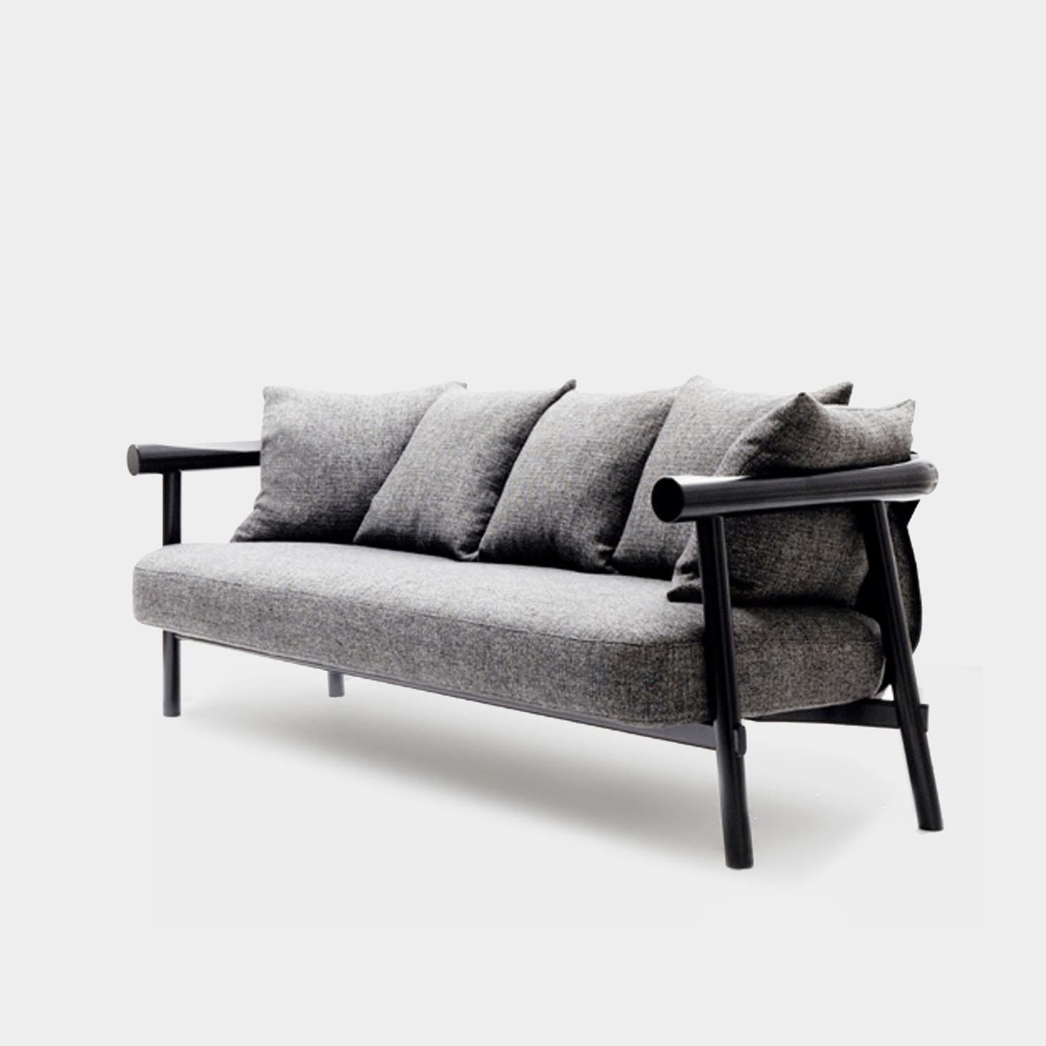 Altay Sofa, Black Structure, Gray Textile Upholstery