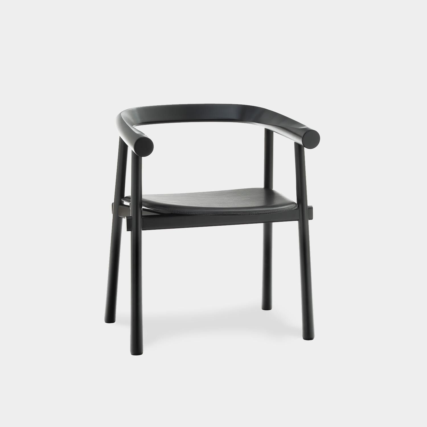 Altay Dining Chair, Black Structure, Black Leather Seat