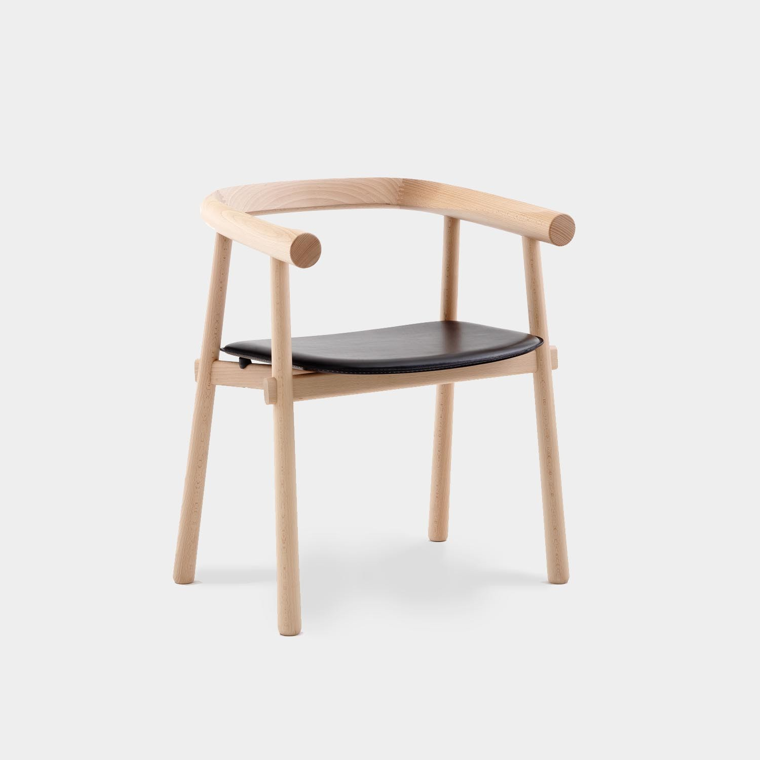 Altay Dining Chair, Natural Beechwood Structure, Black Leather Seat