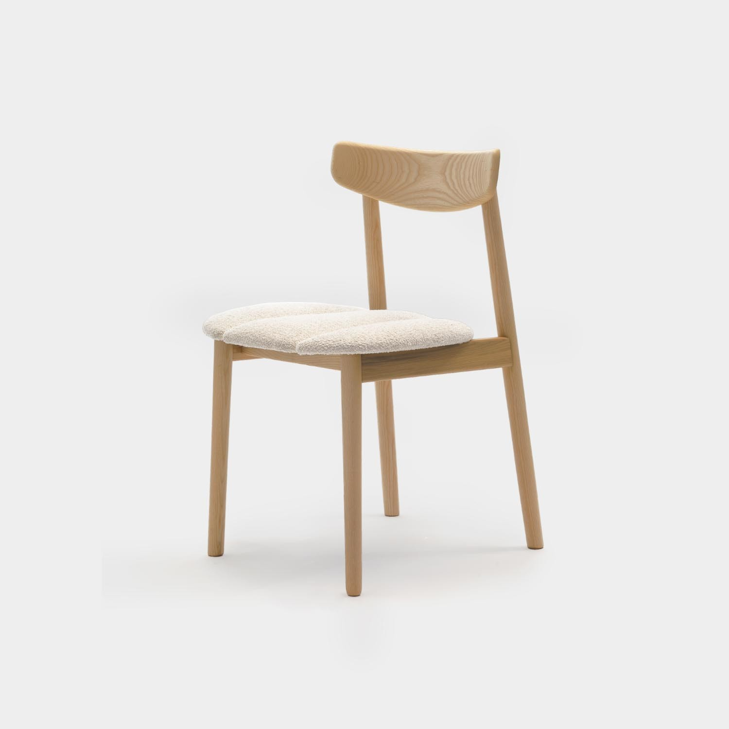 Klee Chair, Natural Oak, White Boucle Upholstered Seat