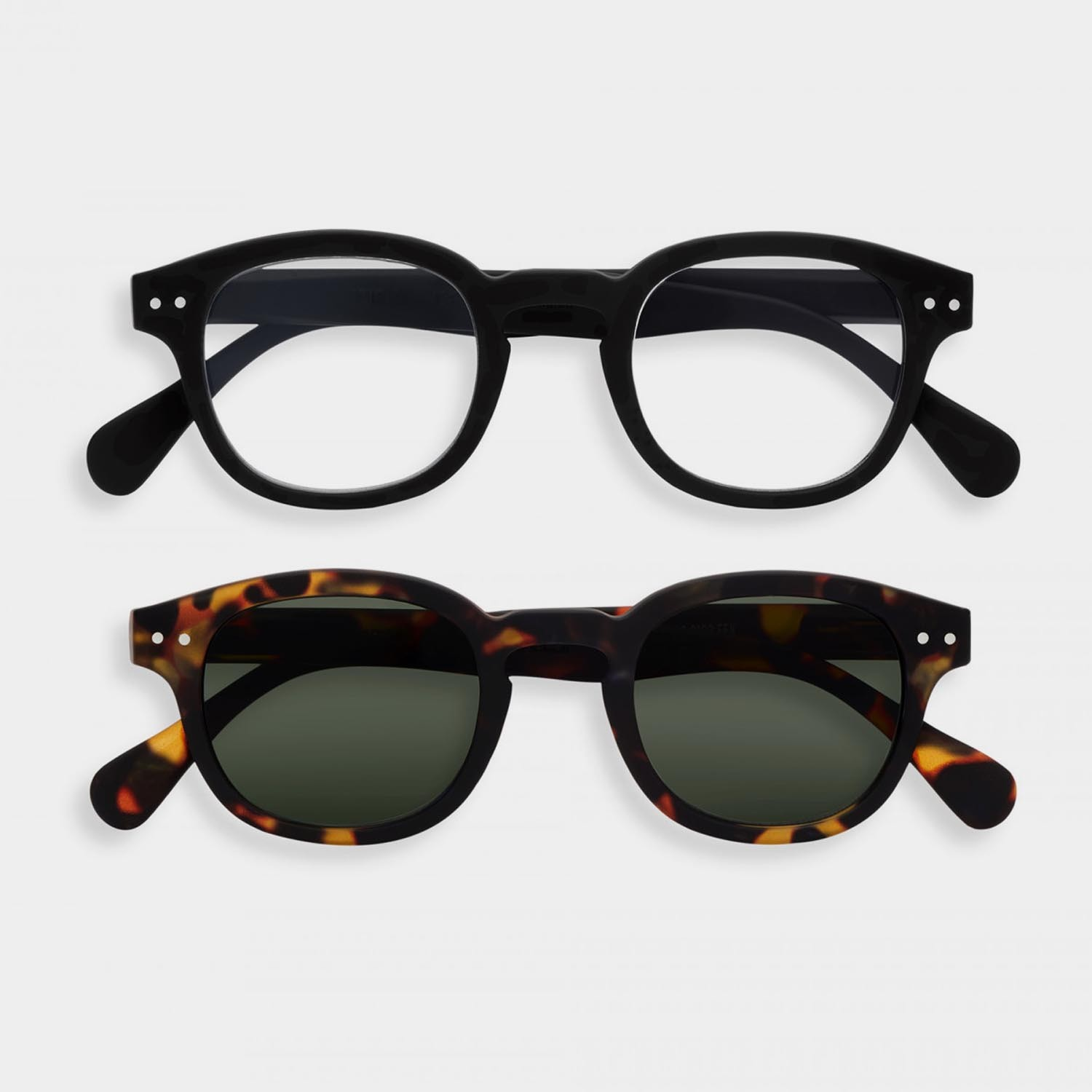 SCREEN and SUN Glasses Duo #C, Black & Tortoise
