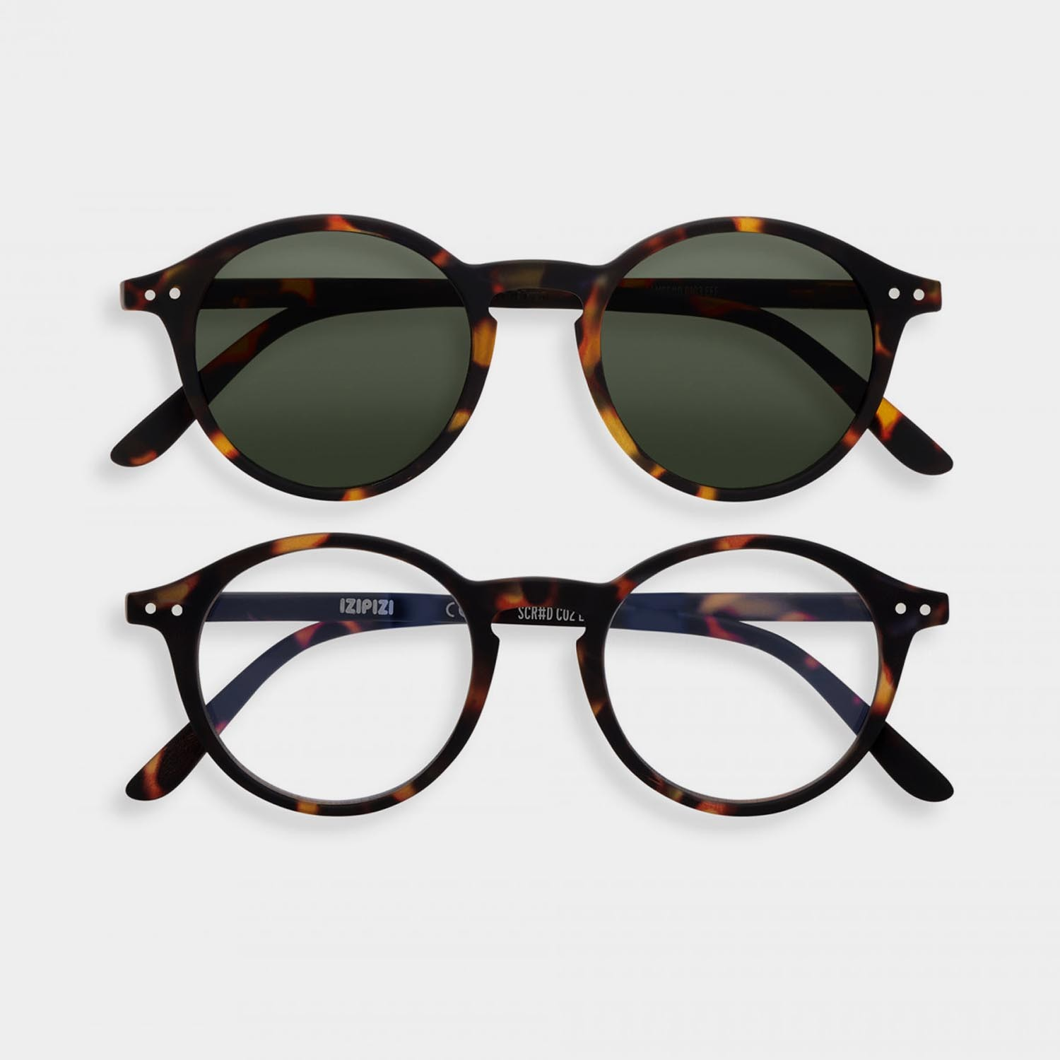 SCREEN and SUN Glasses Duo #D, Tortoise Green Lenses