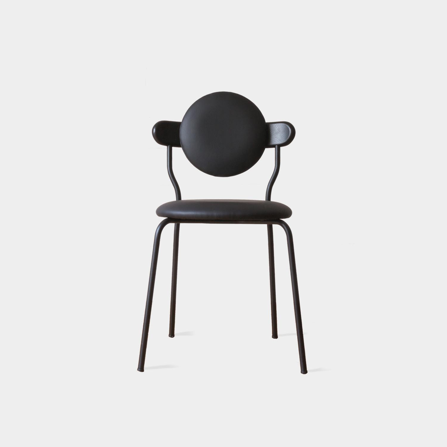 Planet Chair, Black Vegan Leather Upholstery