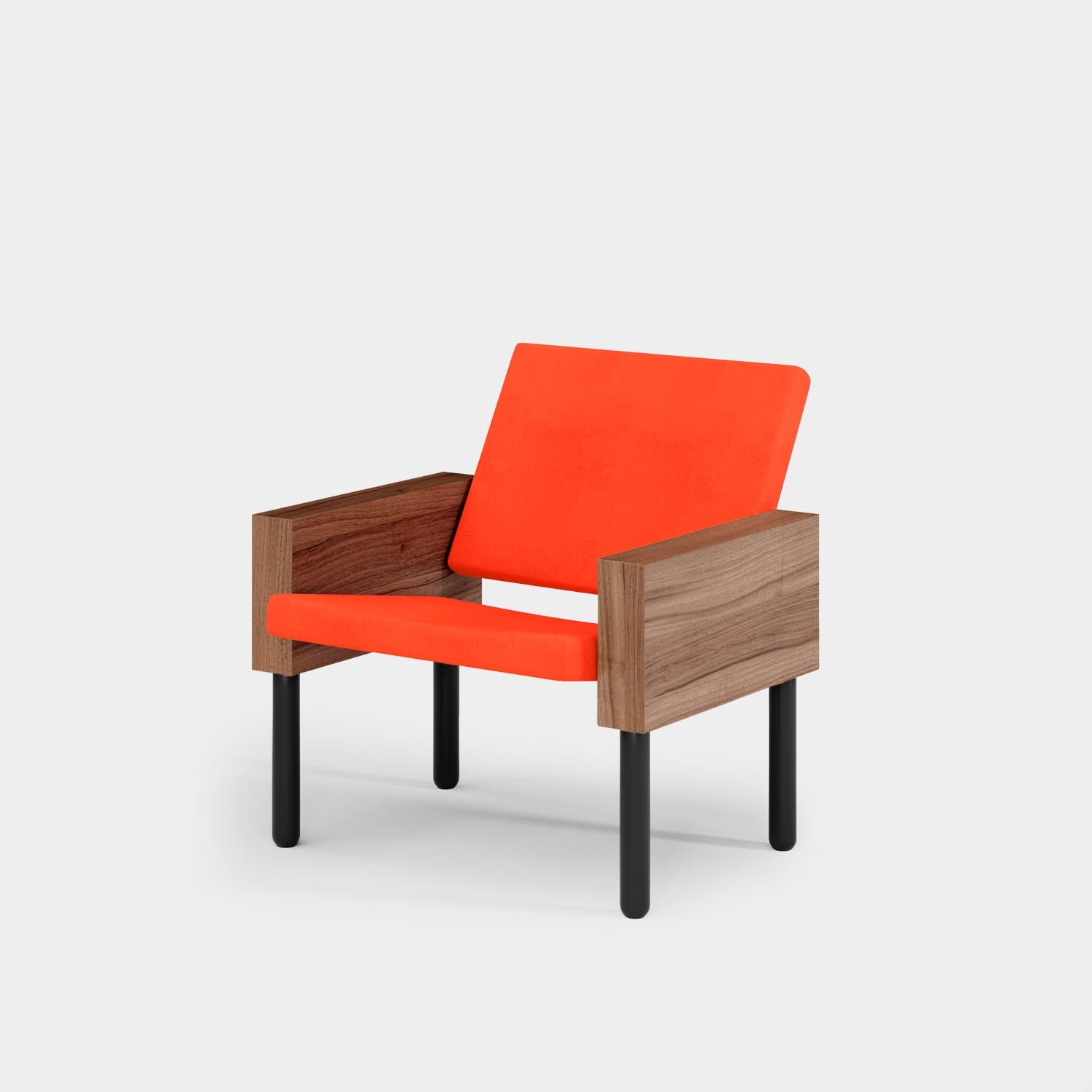Block Armchair, Black Legs, Orange Gaja Upholstery