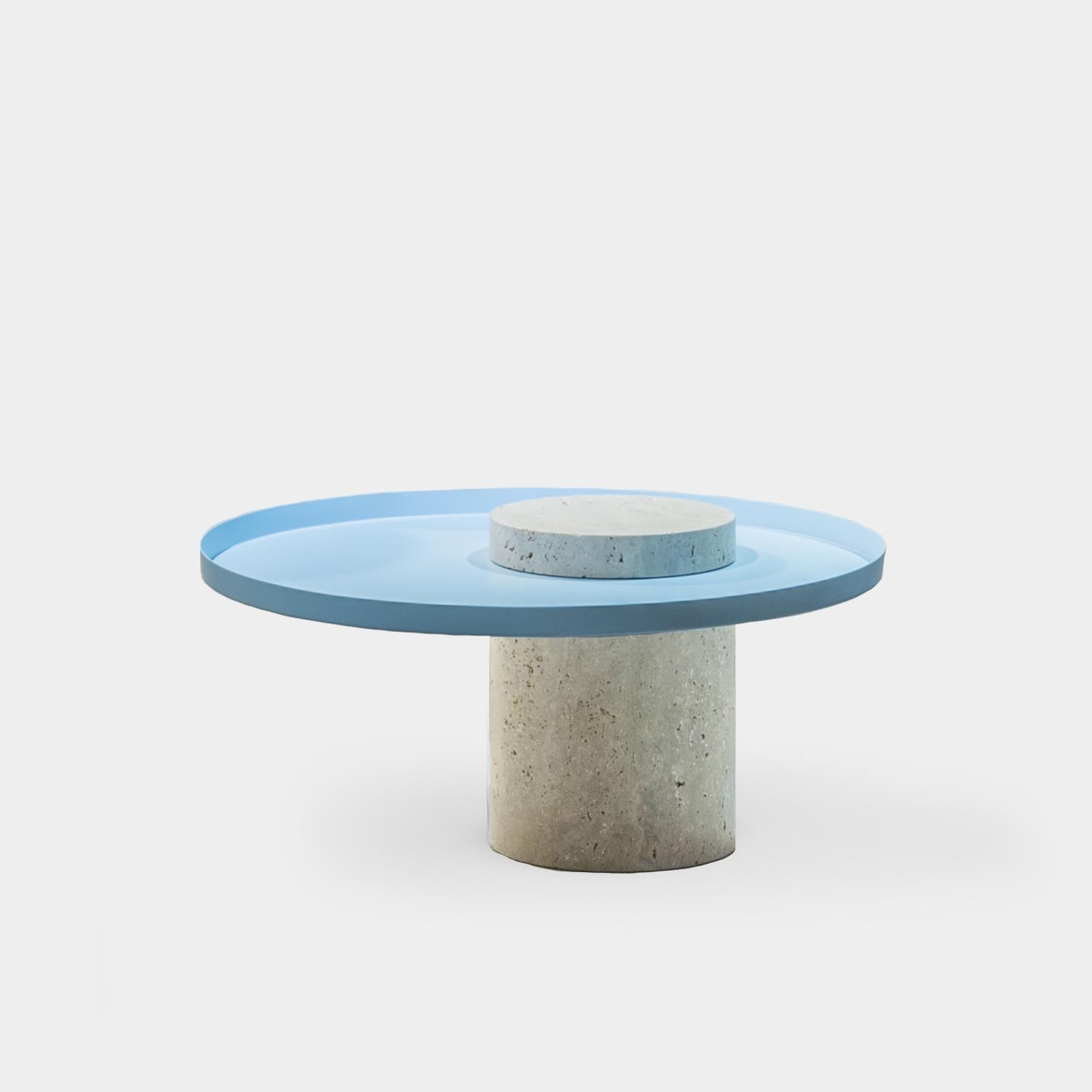 Salute Side Table, Travertine, Low
