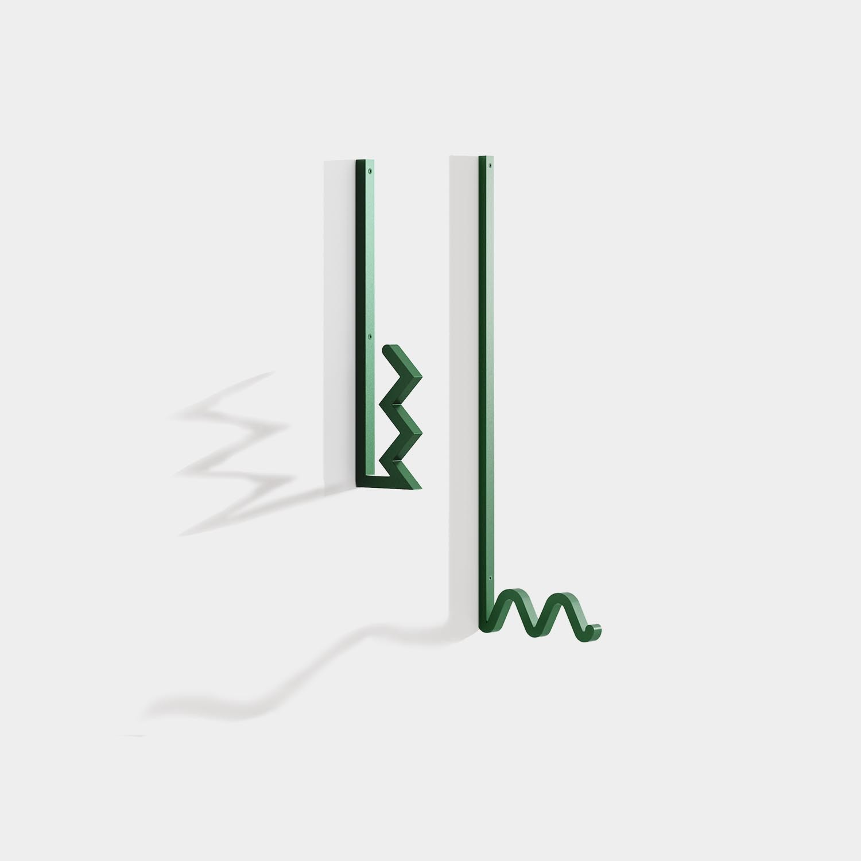 Zag Coat Hook, Green, Set of 2