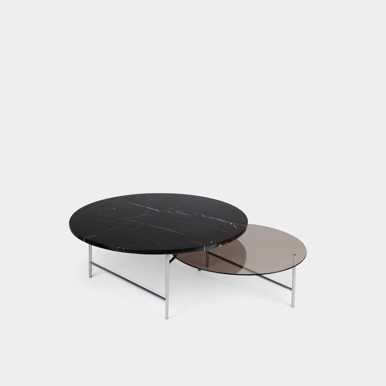Zorro Coffee Table, Black and Smoke Tops