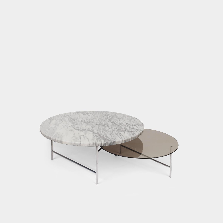 Zorro Coffee Table, White and Smoke Tops