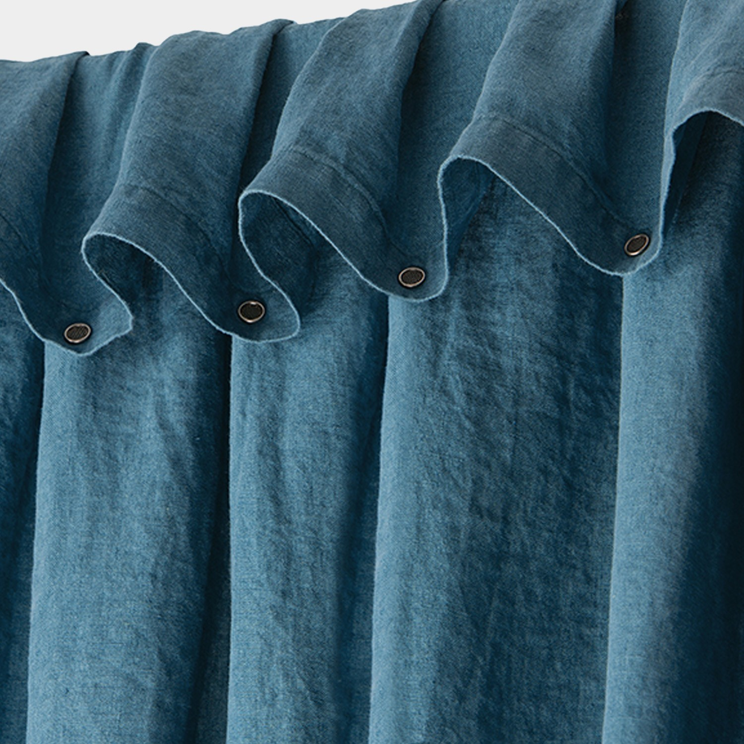 Washed Linen Curtain Teal Blue