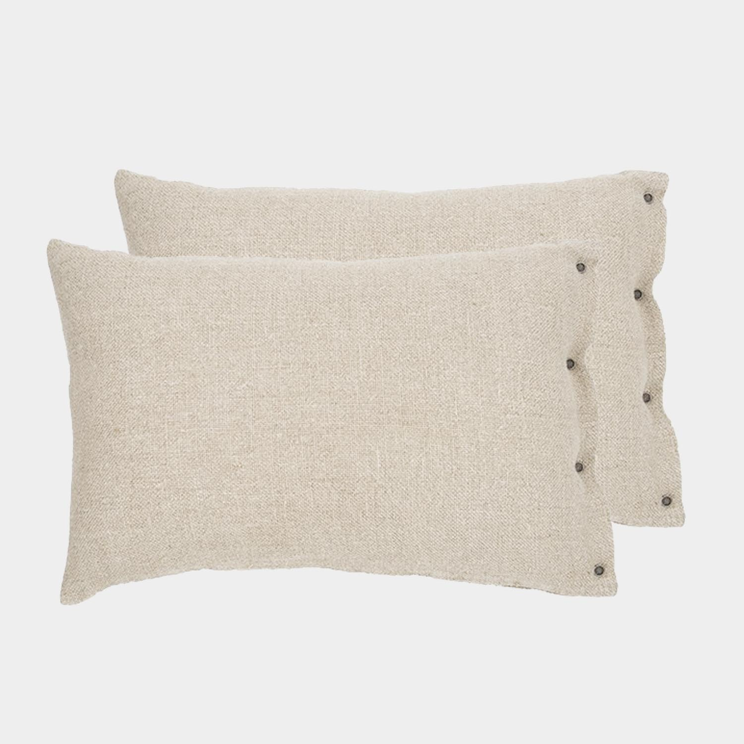 Pair of Rustic Linen Cushion Covers Ivory