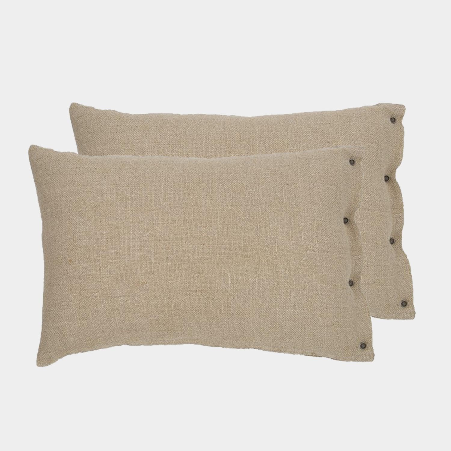 Pair of Rustic Linen Cushion Covers Natural