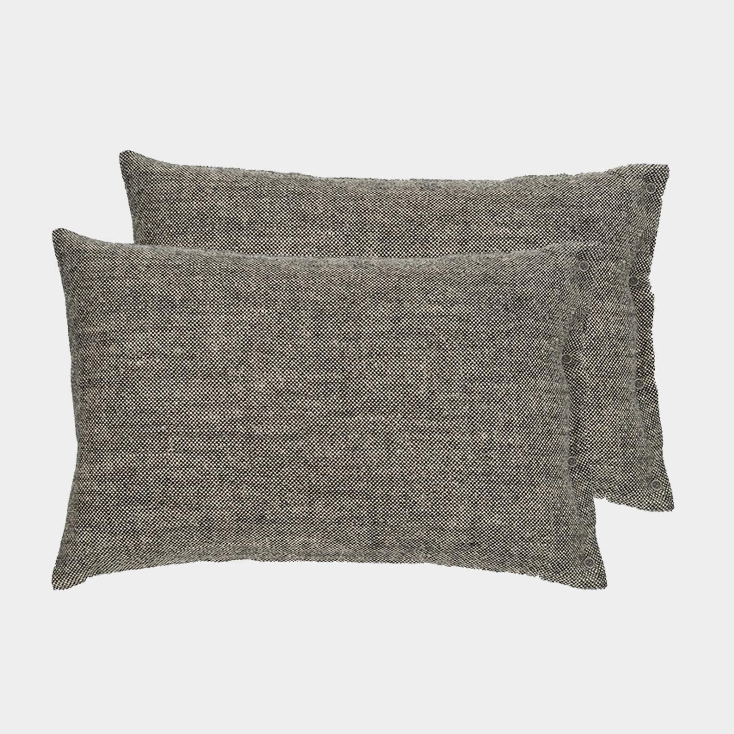 Pair of Rustic Linen Cushion Covers Black