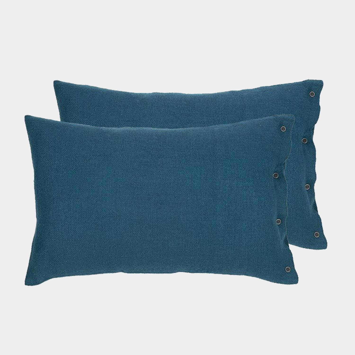 Pair of Rustic Linen Cushion Covers Teal Blue