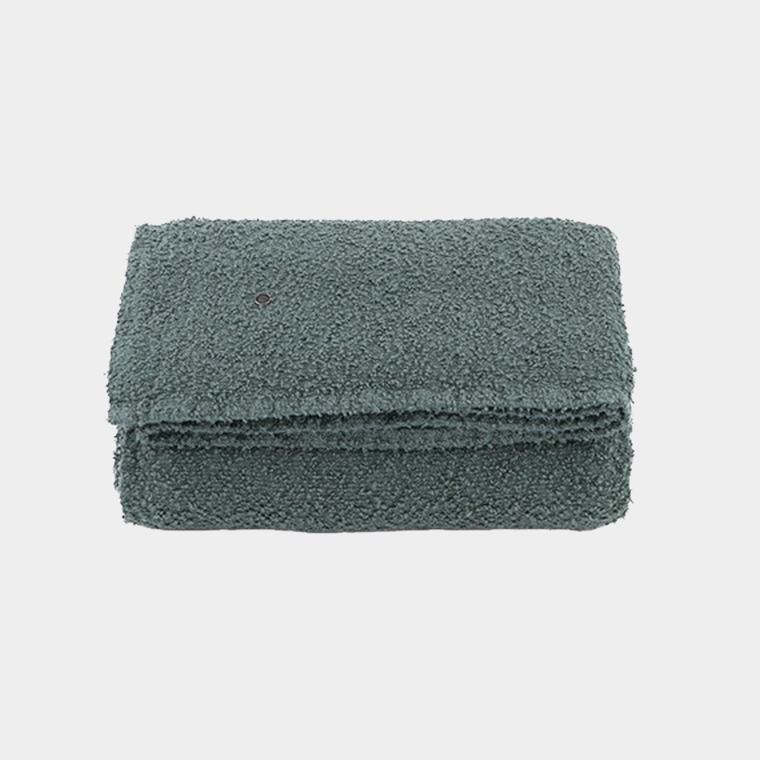 Bouclette Linen Throw, Stone Blue