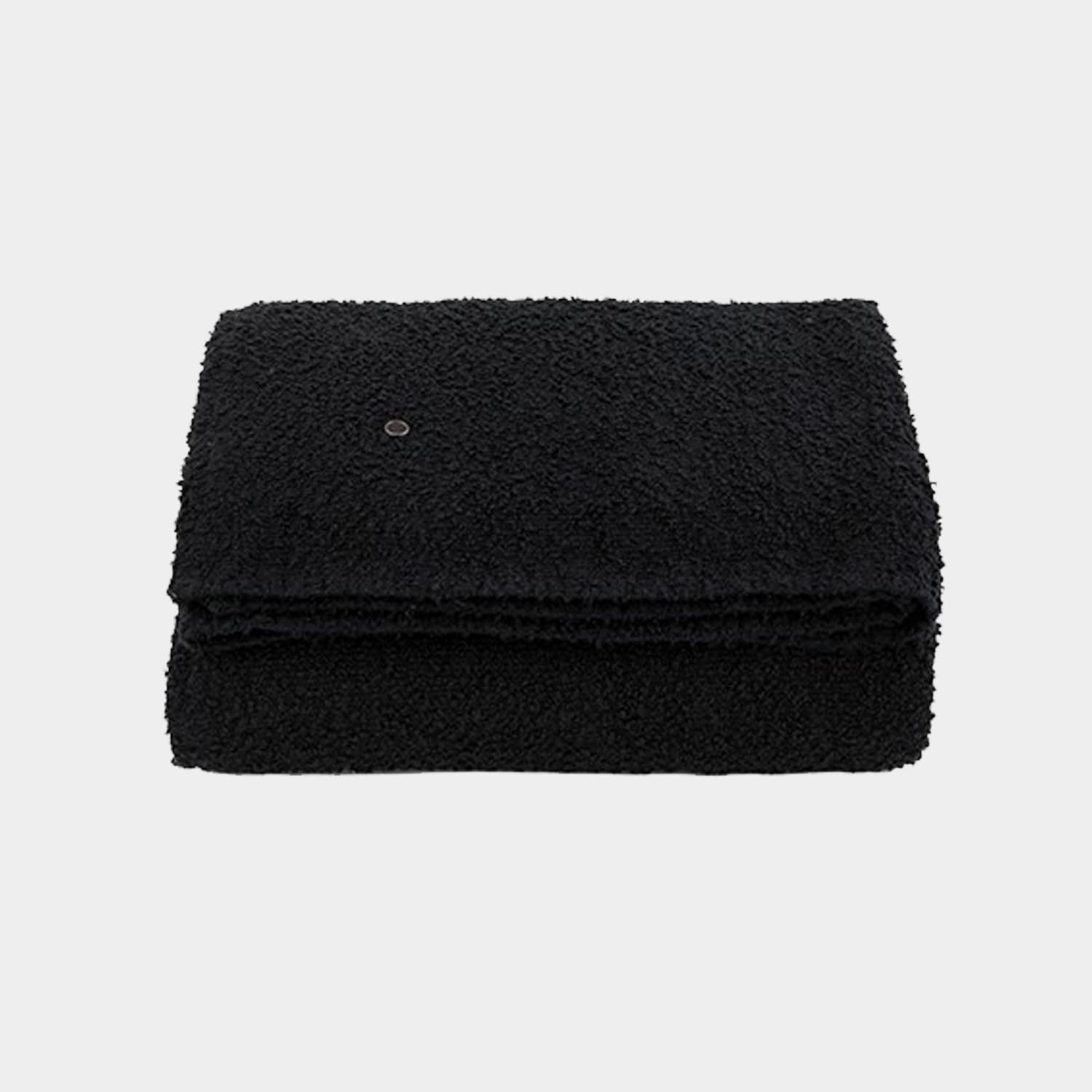 Bouclette Linen Throw, Smoky Black