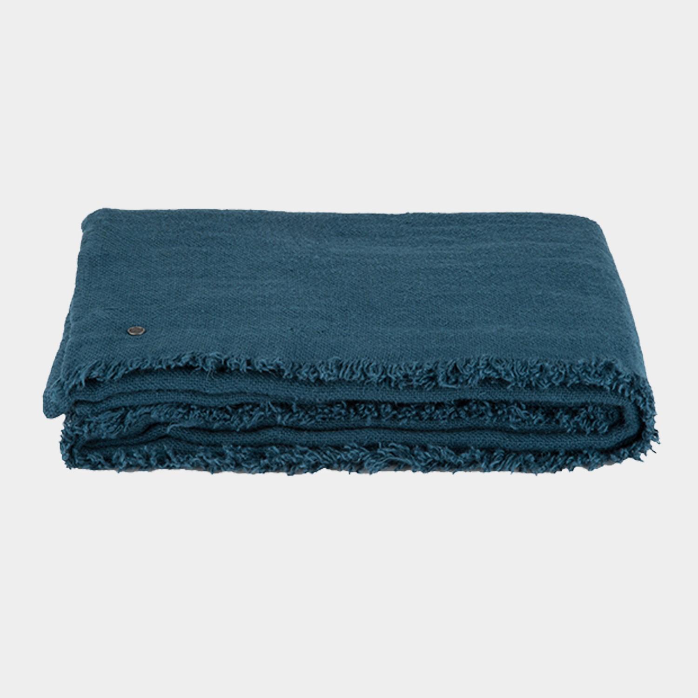 Rustic Linen Blanket Teal Blue
