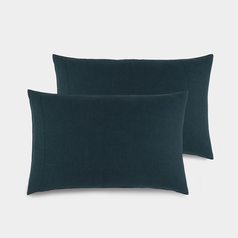 Pair of Linen Satin Standard Shams, Slate