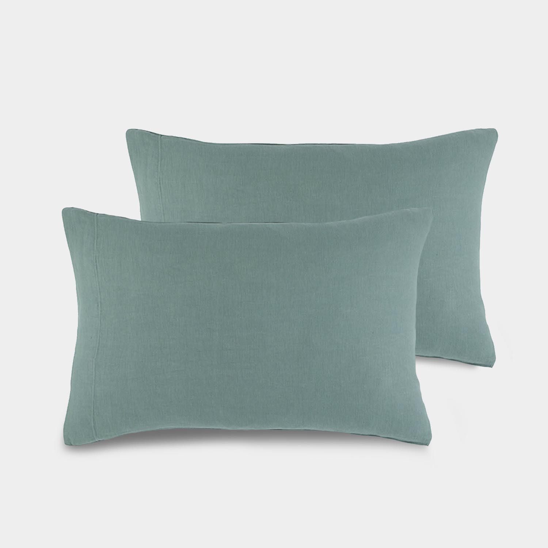 Pair of Linen Satin Standard Shams, Stone Blue