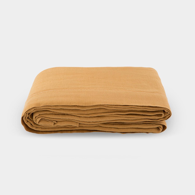 Linen Satin Flat Sheet, Raw Sienna