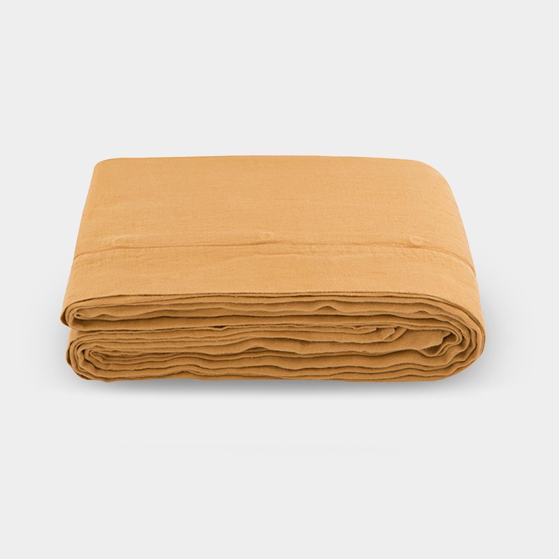 Linen Satin Duvet Cover, Raw Sienna