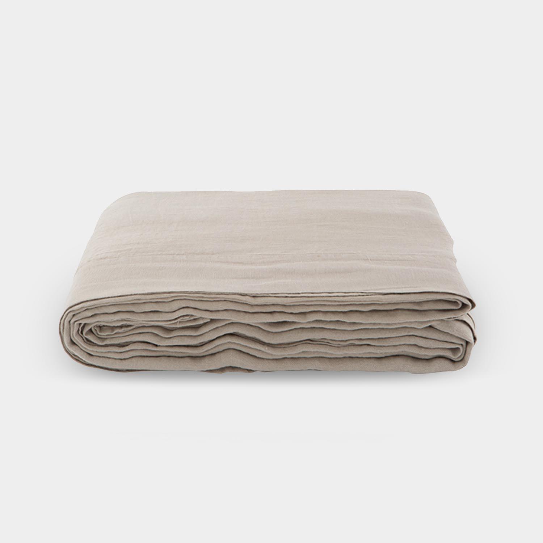 Linen Satin Flat Sheet, Portobello Beige
