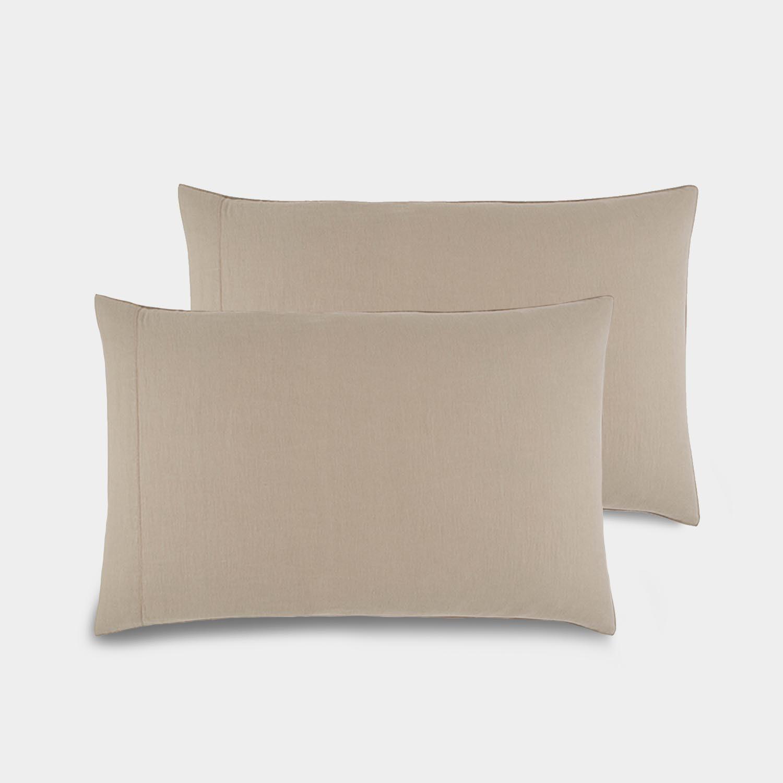 Pair of Linen Satin Standard Shams, Portobello Beige