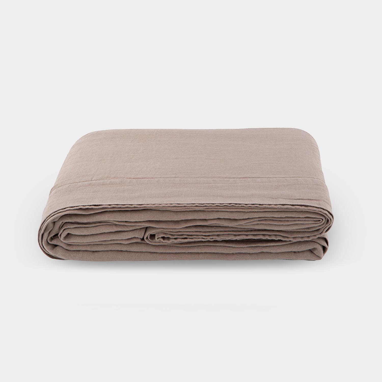 Linen Satin Flat Sheet, Warm Taupe