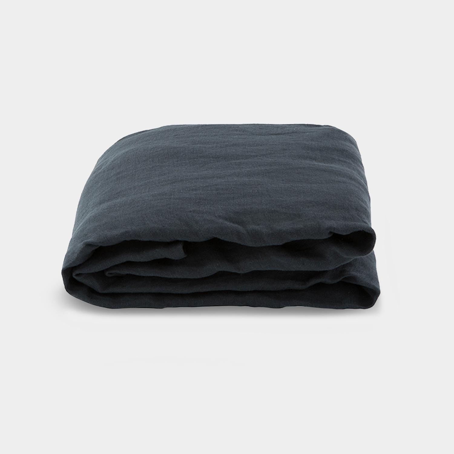 Linen Satin Fitted Sheet, Queen Size, Smoky Black