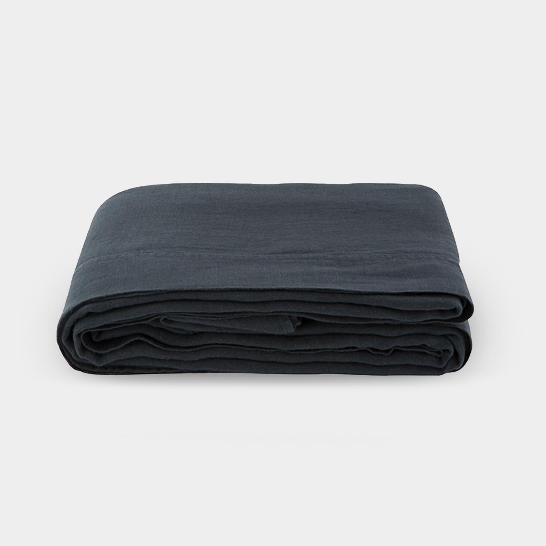 Linen Satin Flat Sheet, Smoky Black