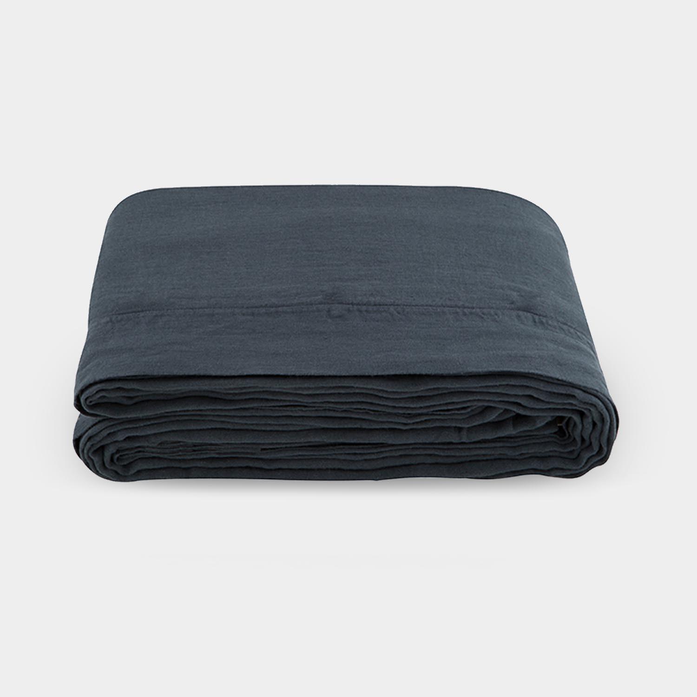 Linen Satin Duvet Cover, Smoky Black
