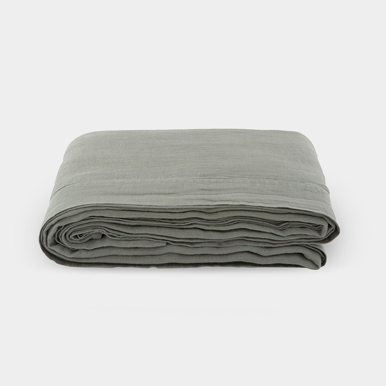 Linen Satin Flat Sheet, Sage