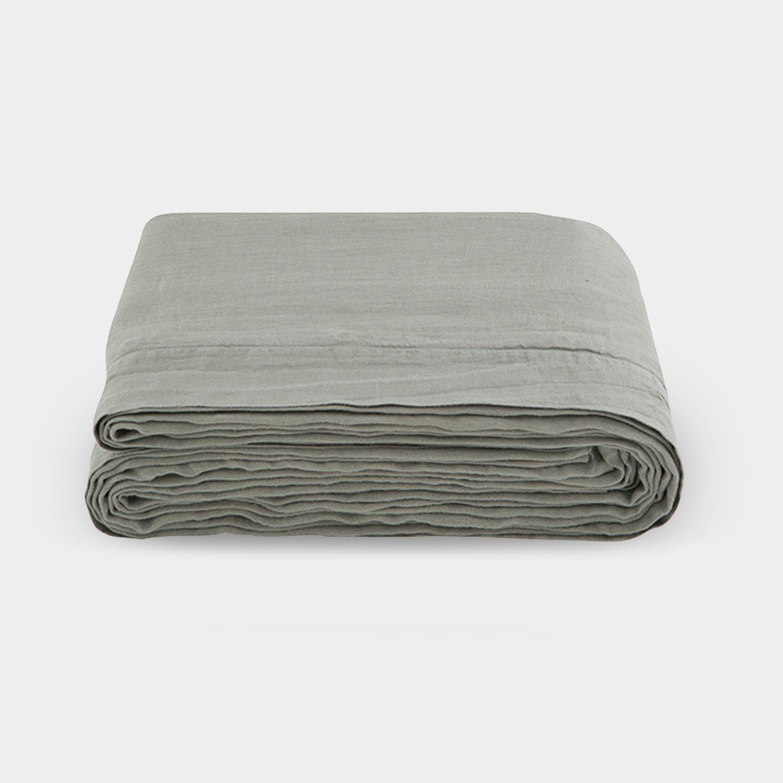 Linen Satin Duvet Cover, Sage