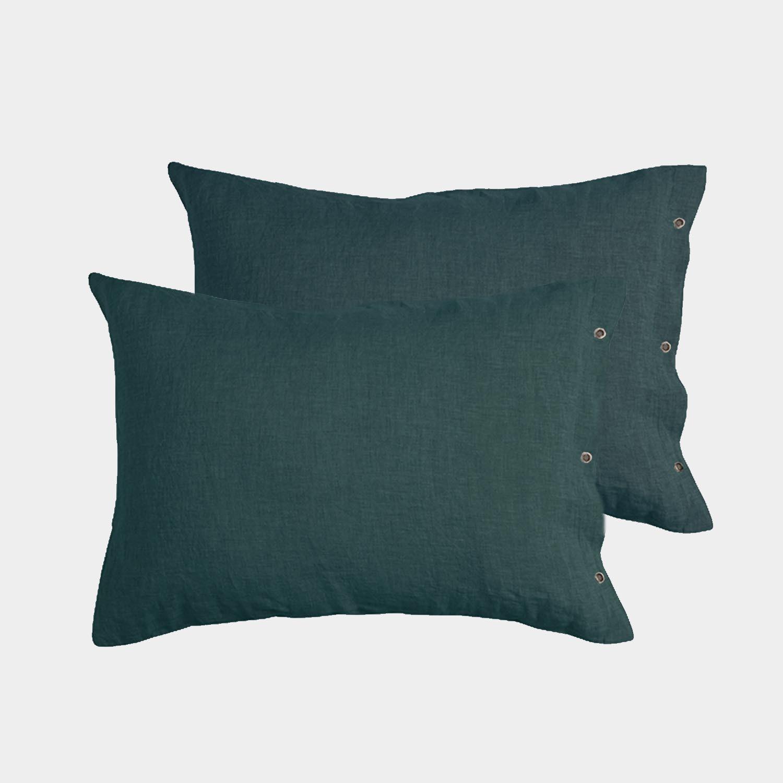 Pair of Premium Linen Standard Shams British Green