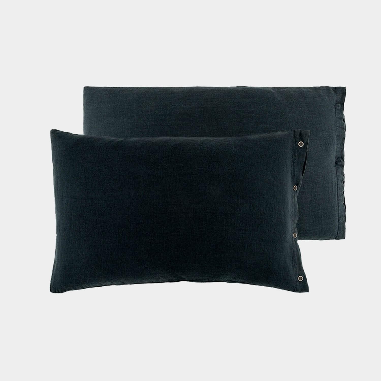 Pair of Premium Linen Standard Shams Anthracite