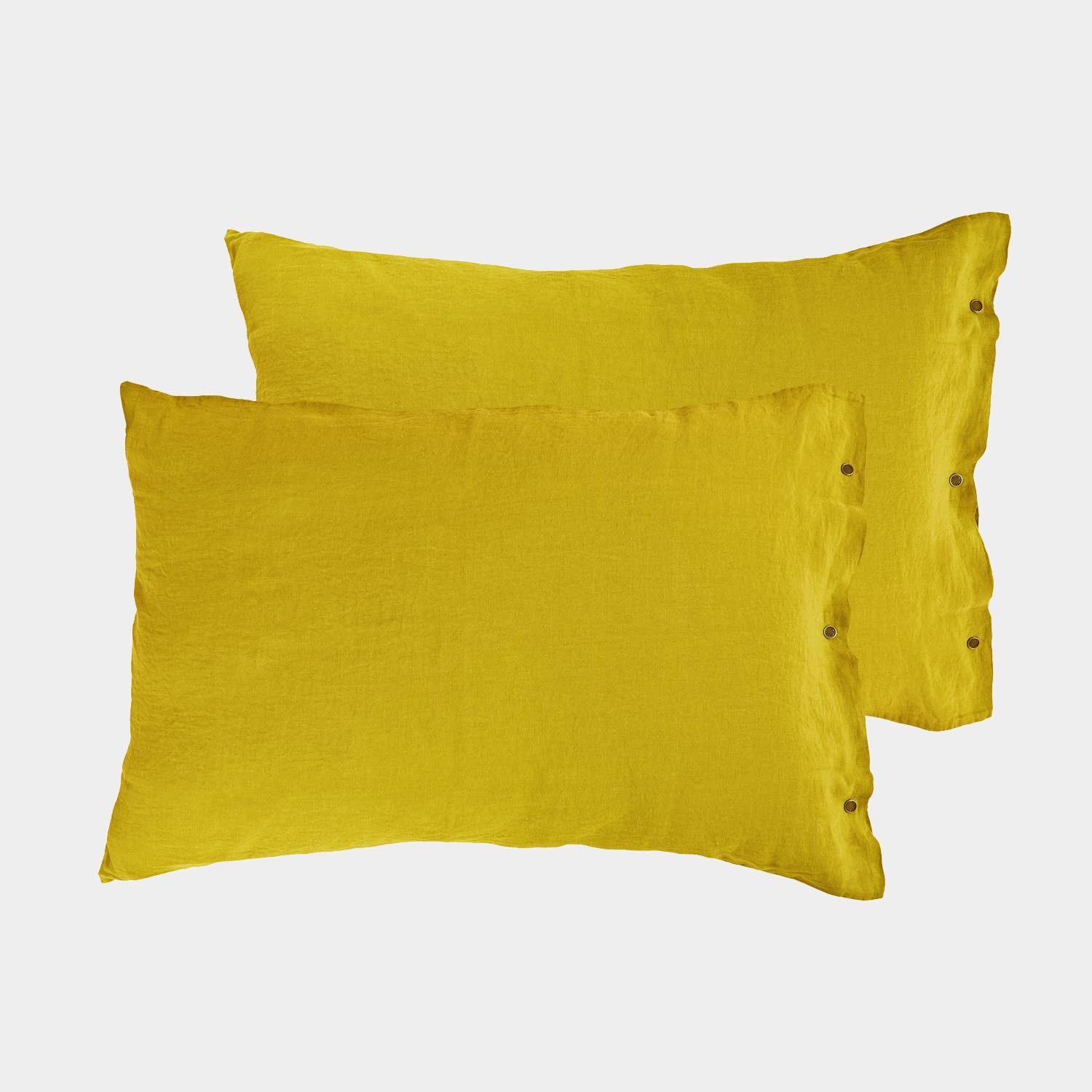 Pair of Premium Linen Standard Shams Corn Yellow