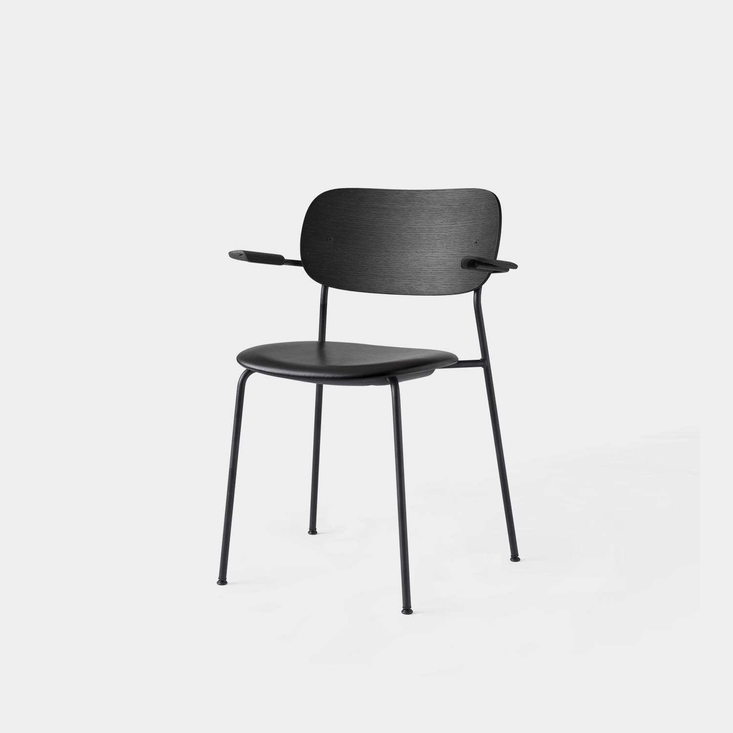 Co Chair with Armrest, Black Oak, Category 1 Black Leather